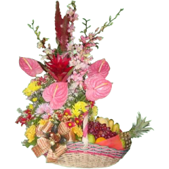 fruits & flowers arrangement delivery Metro Manila by Philippine online flower shop. Located in Makati City.
