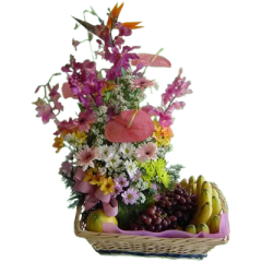 Big basket of spring flowers with fresh fruits.Best flowers and fruits delivery. Next day delivery within Metro Manila such as Makati City, Quezon City, Mandaluyong, Muntinlupa, Las Pinas Christmas gift of fruits and flowers. Mother's day gift of fruits and flowers.