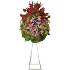 Funeral flowers to express your sympathy  with stand. Condolence flowers. Delivery by trusted online Manila florist. Reliable delivery service of sympathy flowers.