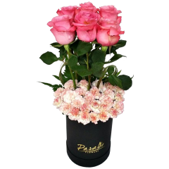 Boxed flowers Box arrangement Ecuador roses and carnations. Best Valentine's Day flower gift. Send Flowers Philippines. Flower Delivery Philippines