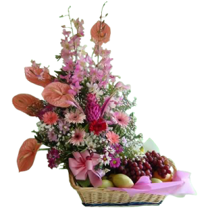 fruits & flowers arrangement delivery Metro Manila. Mother's day gift basket of fruits. Philippine florist