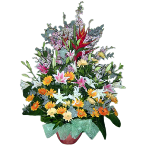 Send flowers to Philippines. Big vase arrangement of Orchids, Oriental lilies, daisies & carnations. Delivery service by best online Manila Florist.