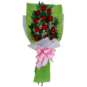 Bouquet 12 Imported Ecuador Roses. Valentine's day day delivery service by Manila Blooms. Reliable florist.