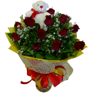 Send valentine's day gift of roses with teddy bear. Reliable and dependable service by Philippine online flower shop.