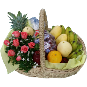 Basket of flowers and fruits. Gift delivery within Metro Manila. Best Mother's day gift basket of fruits and flowers by Manila flower shop.