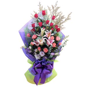 Send Flowers Philippines on Mother's Day. Bouquet of roses and stargazers free delivery within Metro Manila