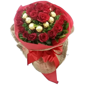 Bouquet Roses with Ferrero Rocher Chocolates Deliver in Metro Manila PH Florist